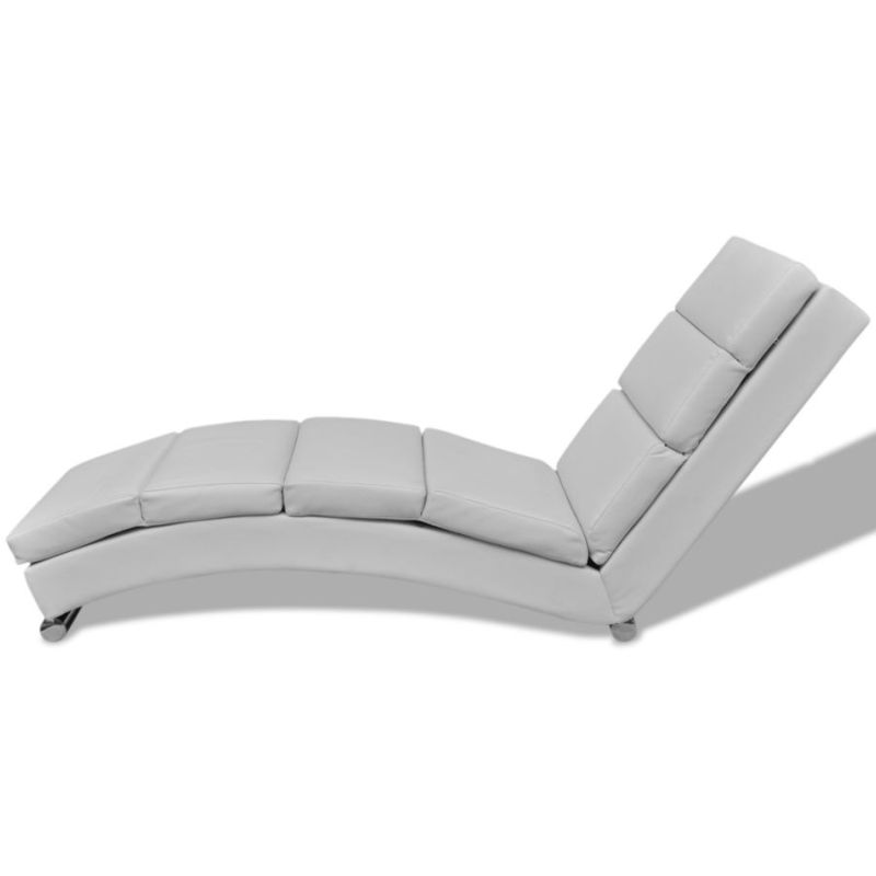 faux leather chaise lounge w steel foot bar white buy. Black Bedroom Furniture Sets. Home Design Ideas