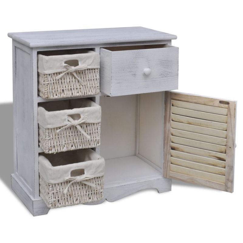 Kitchen Cabinets Basket Drawer: White Wooden Cabinet W/ 3 Woven Basket Drawers