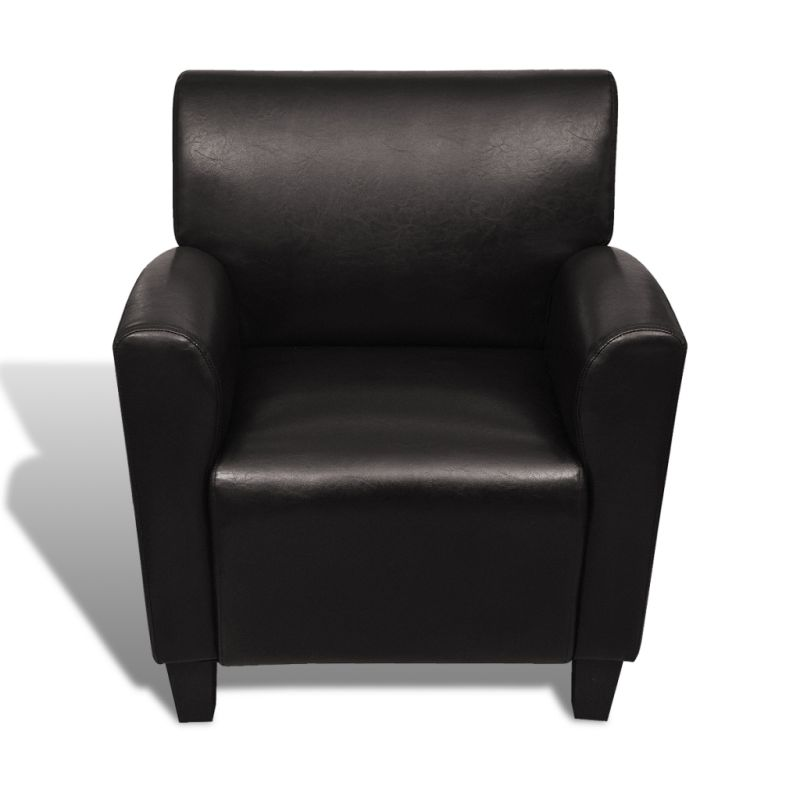 Faux Leather Club Armchair W Curved Arm Rests Brown Buy