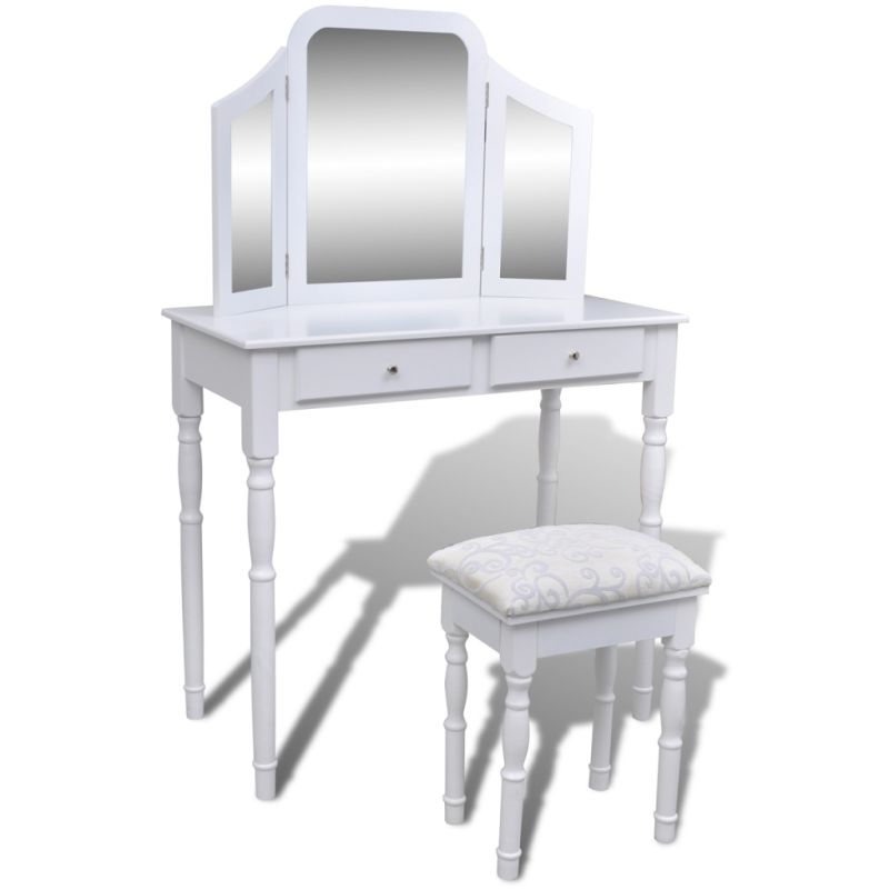 Dressing table w folding mirror stool in white buy