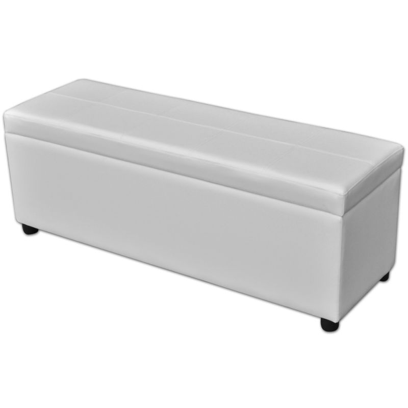 pvc leather storage ottoman bench in white 118cm buy ottomans. Black Bedroom Furniture Sets. Home Design Ideas