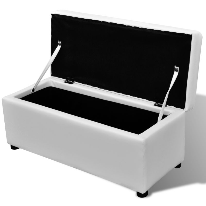 3 set of faux leather storage ottoman benches white buy ottomans. Black Bedroom Furniture Sets. Home Design Ideas