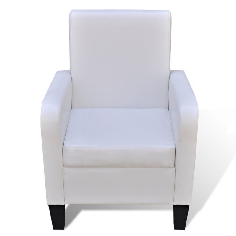 High Back Faux Leather Upholstered Armchair White | Buy ...