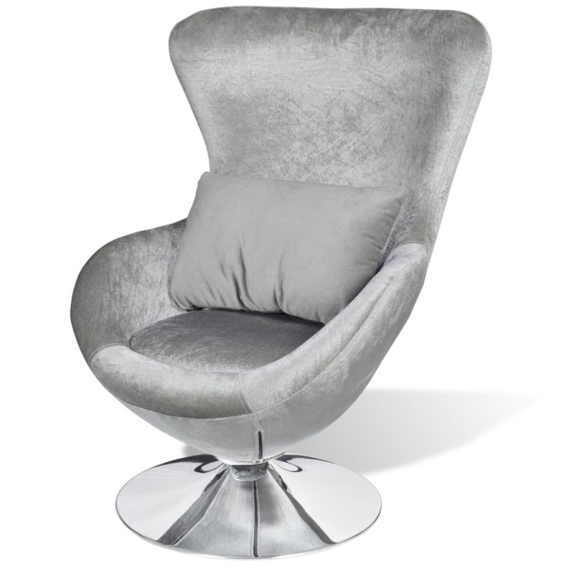 Etonnant Wingback Fabric Swivel Egg Chair W Cushion Silver