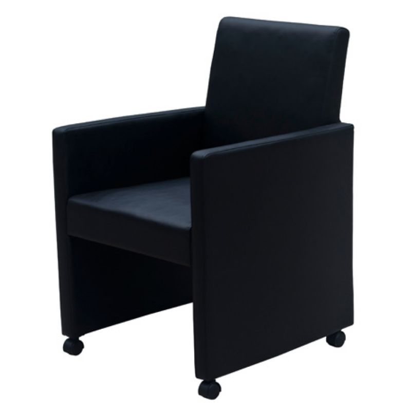 Wheeled Dining Chairs: 2x Faux Leather Lounge & Dining Chairs Wheels Black