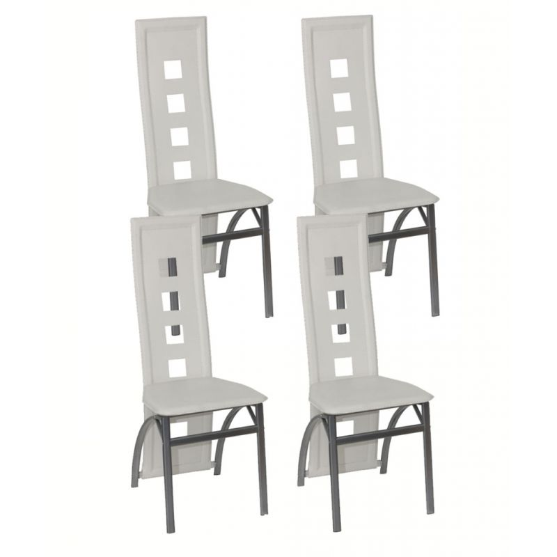 4x White Faux Leather Dining Chairs w/ Steel Frame   Buy ...