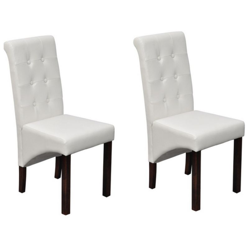 2x Faux Leather Dining Chairs w/ Wooden Legs White   Buy ...
