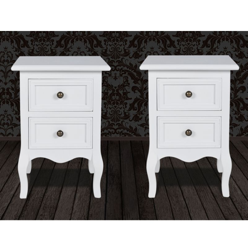 2x white bedside table nightstands with 2 drawers buy for Buy white bedside table