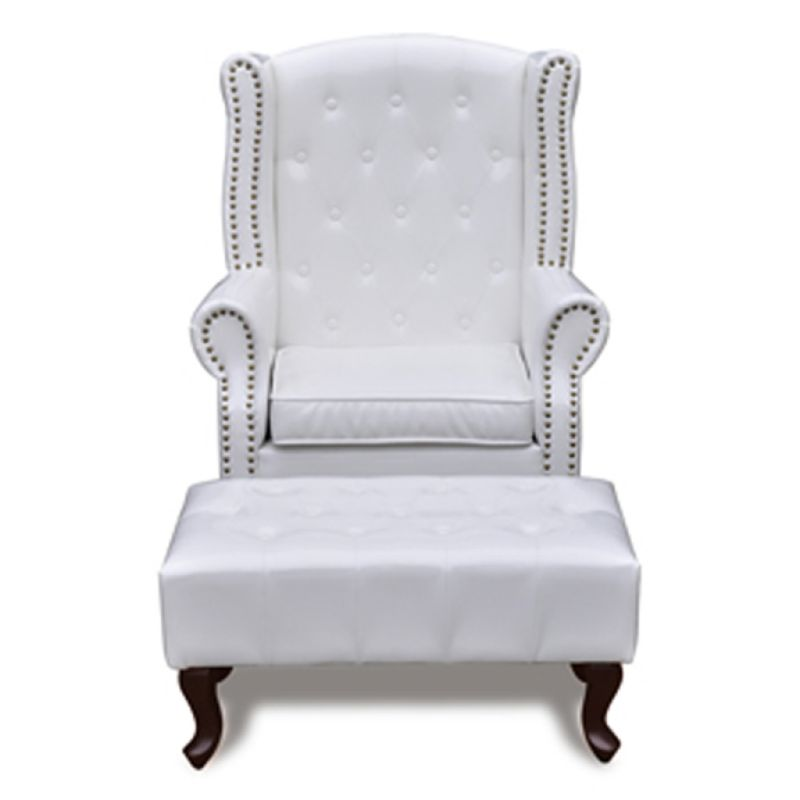 PVC Leather Wingback Armchair w/ Ottoman in White | Buy ...