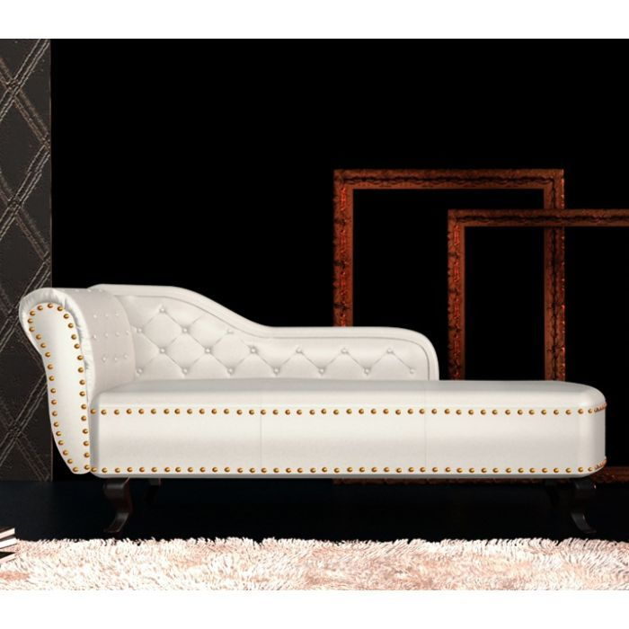 Chesterfield Pvc Leather Chaise Lounge Cream White Buy