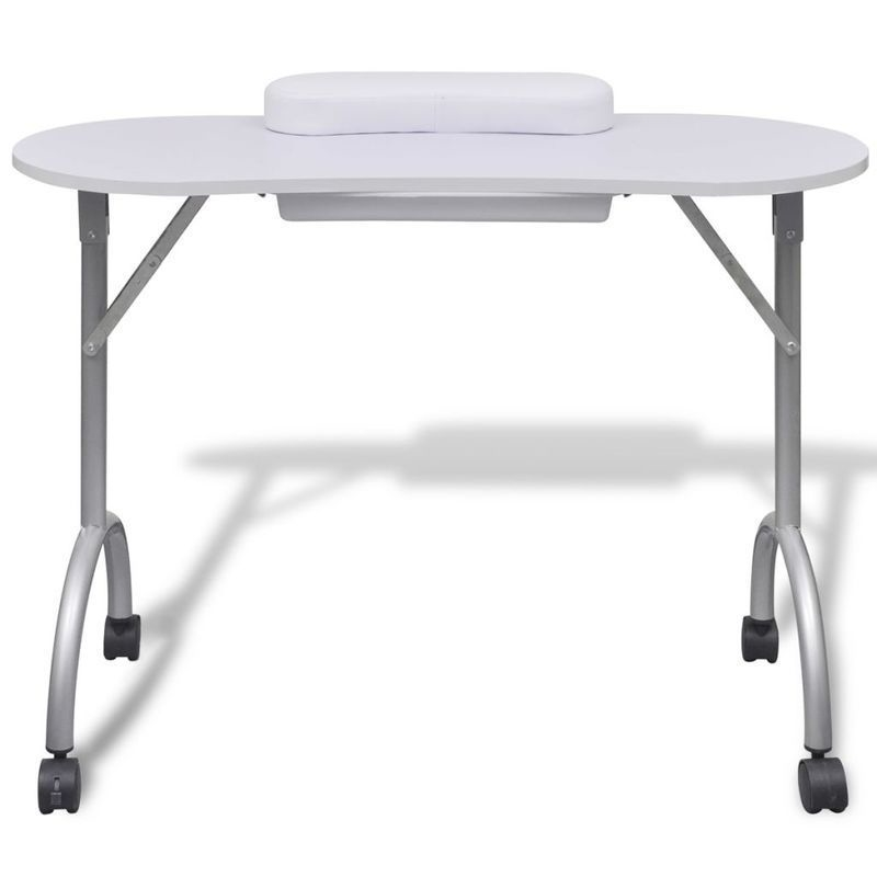White Manicure Table Nail Desk Folding Portable Station Hand Rest ...