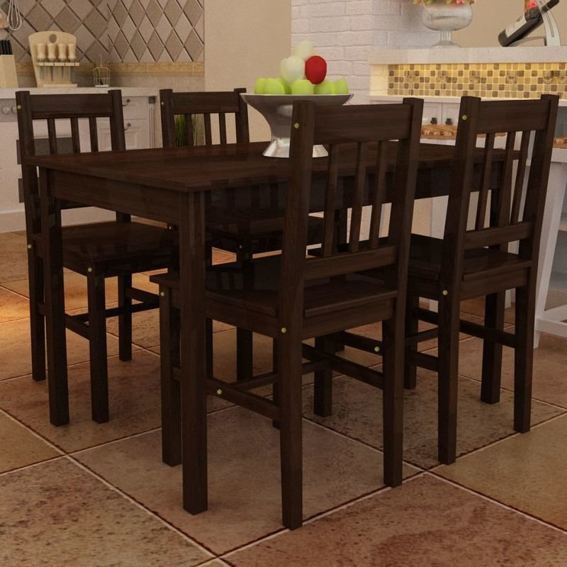 5pcs Dining Set Wooden Table Chairs Kitchen Dining Room
