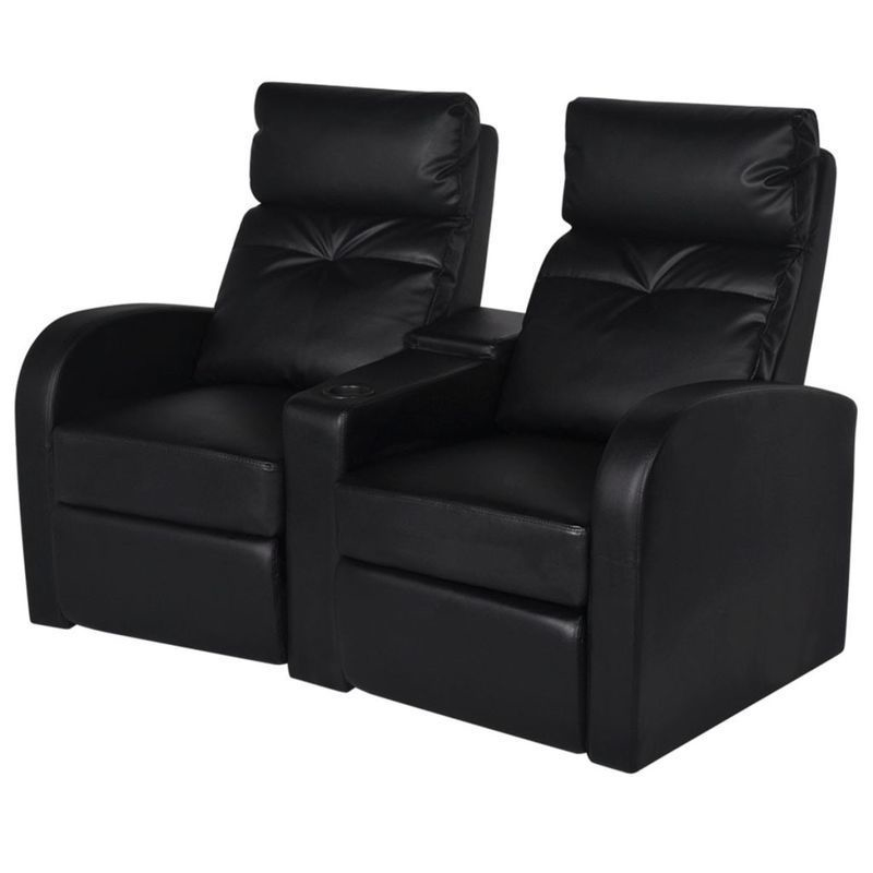 Sofa Bed Home Theater: VidaXL 2 Seater Leather Sofa Couch Home Theatre Cinema