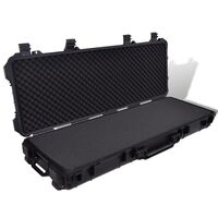 Plastic Waterproof Moulded Gun Case w/ Wheels Black