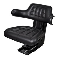 Black PVC Steel Tractor Seat with Spring Armrests