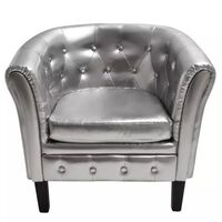 Faux Leather Chesterfield Armchair Lounge in Silver