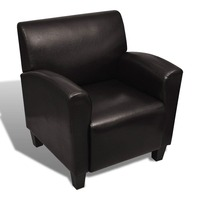 Faux Leather Club Armchair w Curved Arm Rests Brown