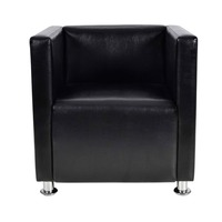 Square Tub Faux Leather Lounge Armchair in Black