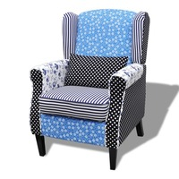 Country Patchwork Armchair in Blue & White Florals