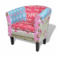 Round Tub Fabric Armchair in Floral Patchwork
