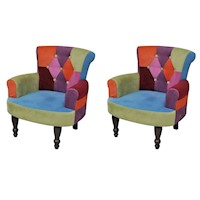 2x Multicoloured Patchwork Chesterfield Armchairs