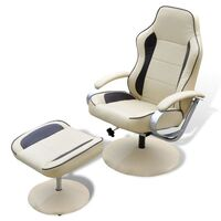 Deluxe Faux Leather Recliner Chair w Footrest Cream