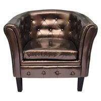 Faux Leather Chesterfield Armchair Lounge in Bronze