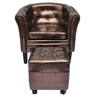 Faux Leather Chesterfield Armchair w Ottoman Bronze