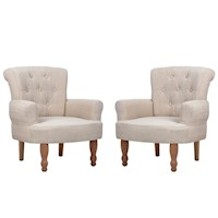 2x French Provincial Fabric Armchair in Cream
