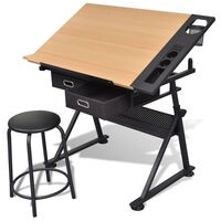 Tilt Art Drawing Drafting Table w 2 Drawers & Stool