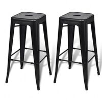 2x Replica Tolix Metal Steel Bar Stool Black 76cm