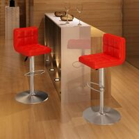 2x Grid Faux Leather Gas Lift Bar Stools in Red