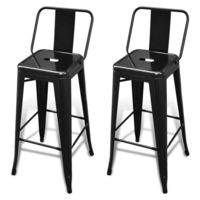 2x Square Replica Tolix Bar Stool Chairs in Black