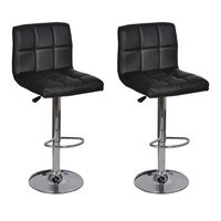 2x Grid Faux Leather Gas Lift Bar Stools in Black