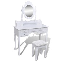 7 Drawer Dressing Table w/ Mirror & Stool in White