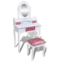 Red Floral Pattern Dressing Table w/ Mirror & Stool