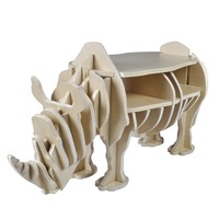 Unique Wooden Rhino Book Shelf & Coffee Side Table