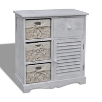 White Wooden Cabinet w/ 3 Woven Basket Drawers