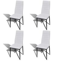 4x Slim Line Faux Leather Dining Chairs in White