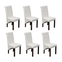 6x Faux Leather Buttoned Chairs w Wooden Legs White