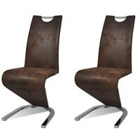 2x Faux Leather U Cantilever Dining Chairs in Brown