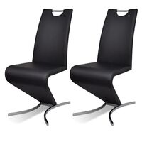 2x Z Faux Leather Cantilever Dining Chairs in Black
