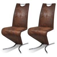 2x Faux Leather H Cantilever Dining Chairs in Brown