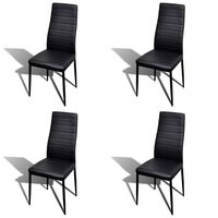 4x Slim Line Faux Leather Dining Chairs in Black