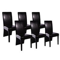 6x Black Faux Leather Dining Chairs w/ Wooden Legs