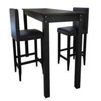 Large Bar Table w/ 2 Faux Leather Stools in Black