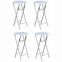 4x Round MDF & Iron Foldable Bar Tables in White