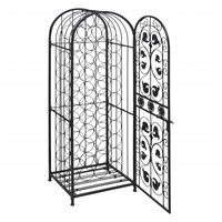 45 Bottle Wrought Iron Wine Rack Cabinet in Black