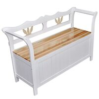 Wooden Storage Entry Way Bench White & Natural Tone
