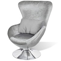Wingback Fabric Swivel Egg Chair w Cushion Silver
